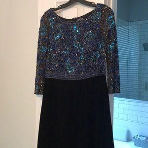 Velvet jewel evening gown